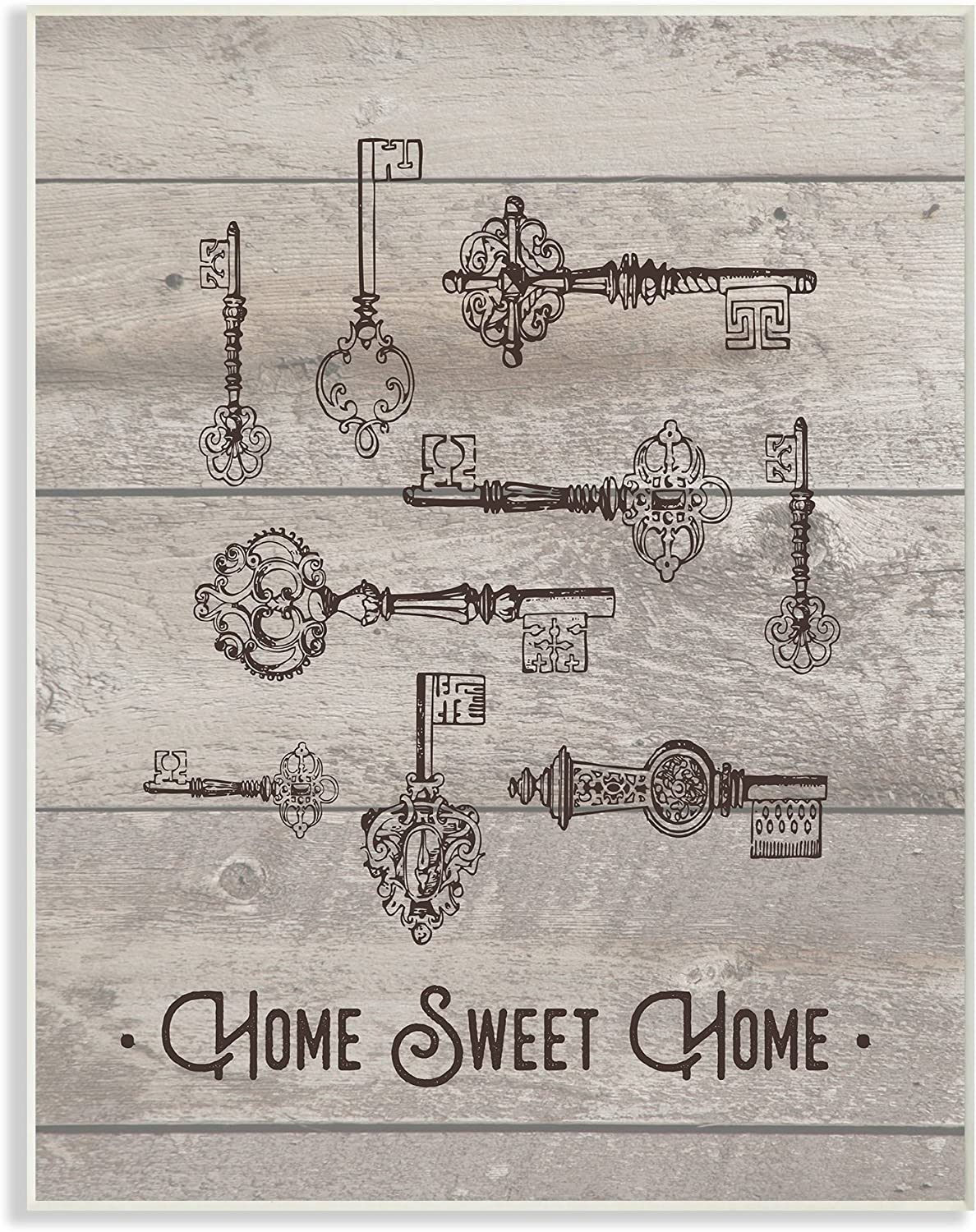 Stupell Industries Sweet Home Vintage Keys Wall Plaque, 10 x 15, Multi-Color