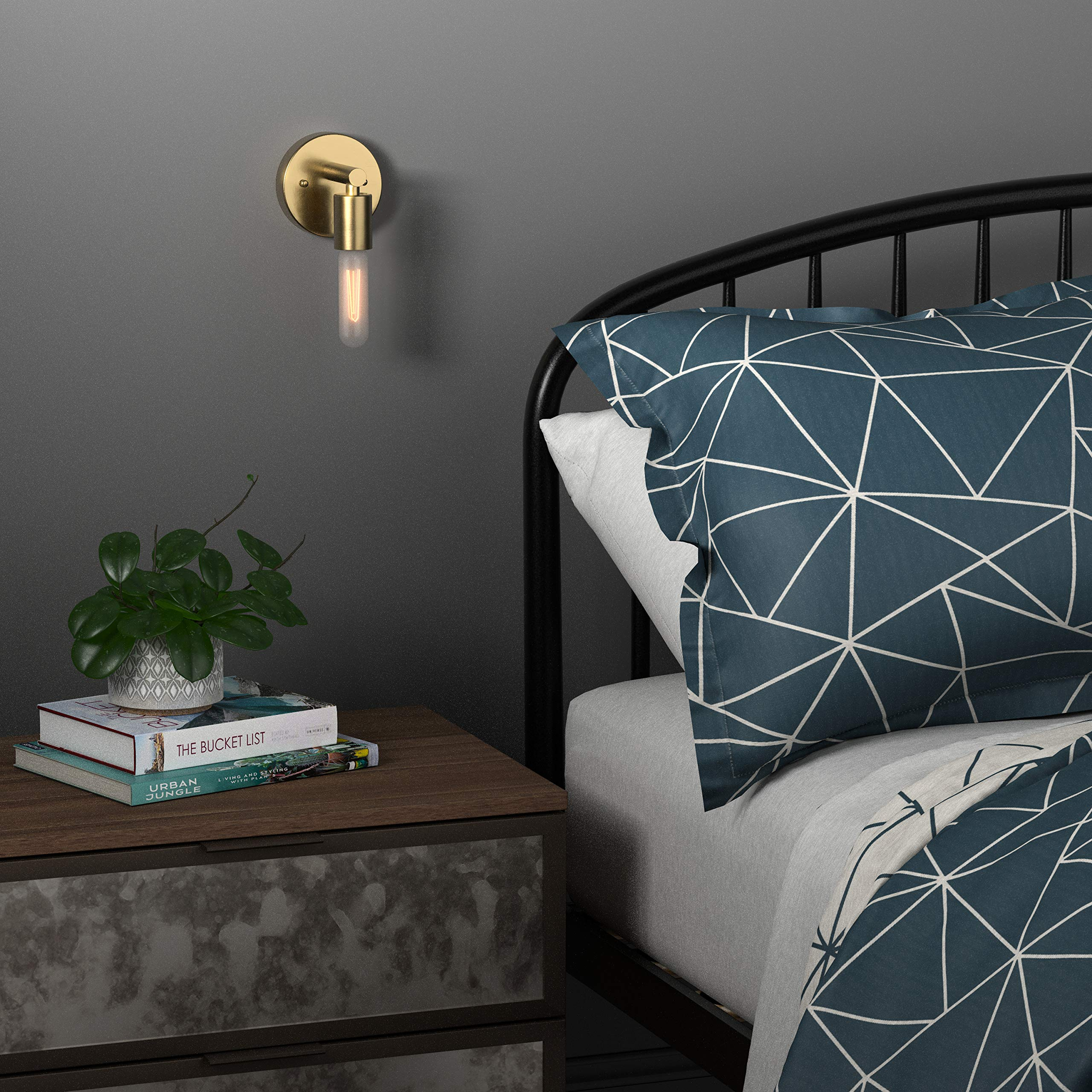 Rivet Modern Wall Sconce with Bulb, 9.13''H, Satin Brass by Rivet (Image #3)