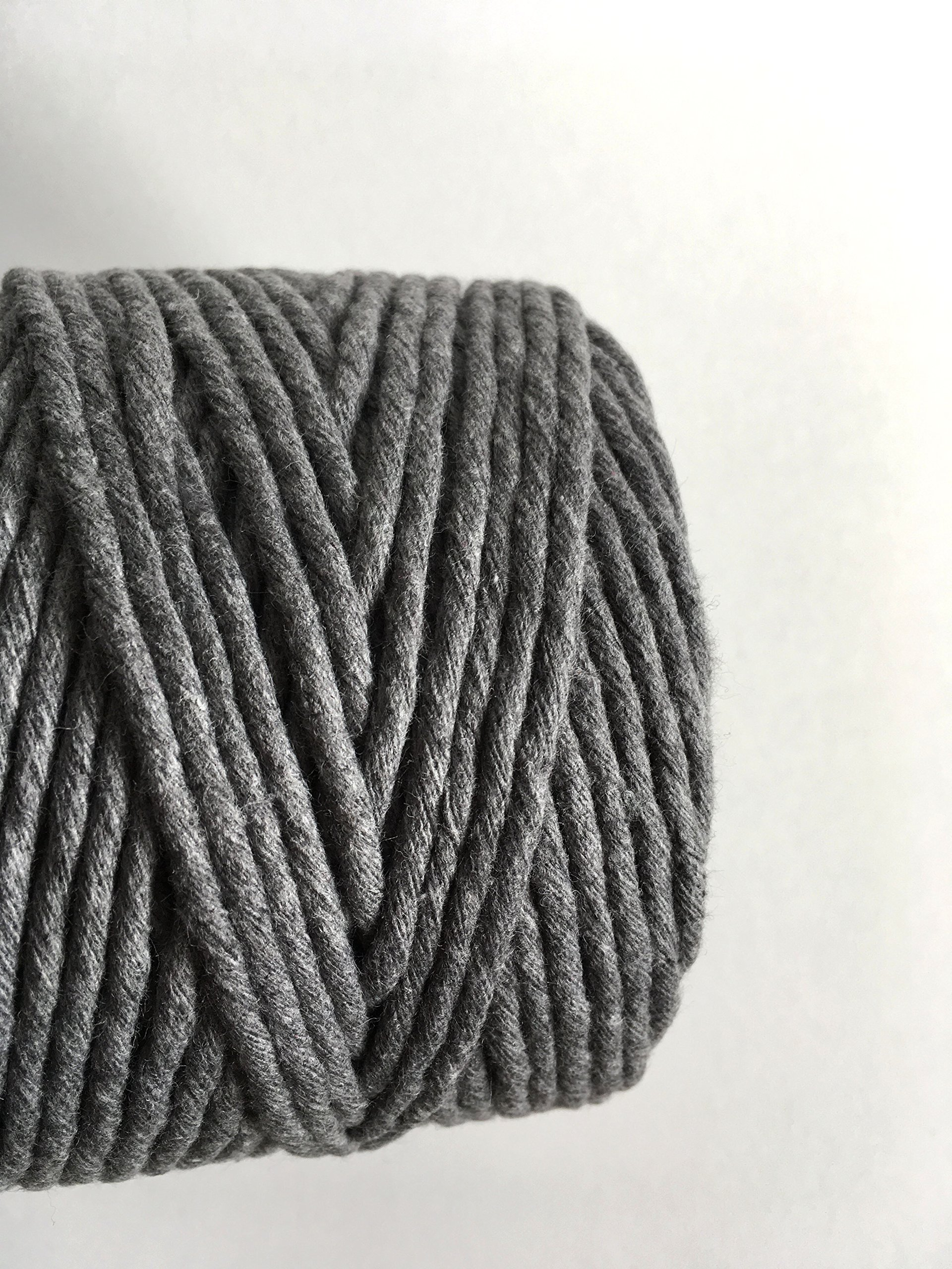 Gray Macrame Cord / 4mm Single Strand Cotton Fiber Art Rope/Earl Gray/Charcoal by Rock Mountain Co (Image #4)