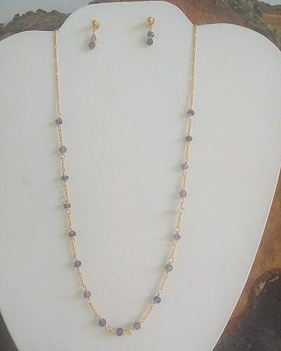 7f38dba385da Iolita facetada. Conjunto de collar y aretes