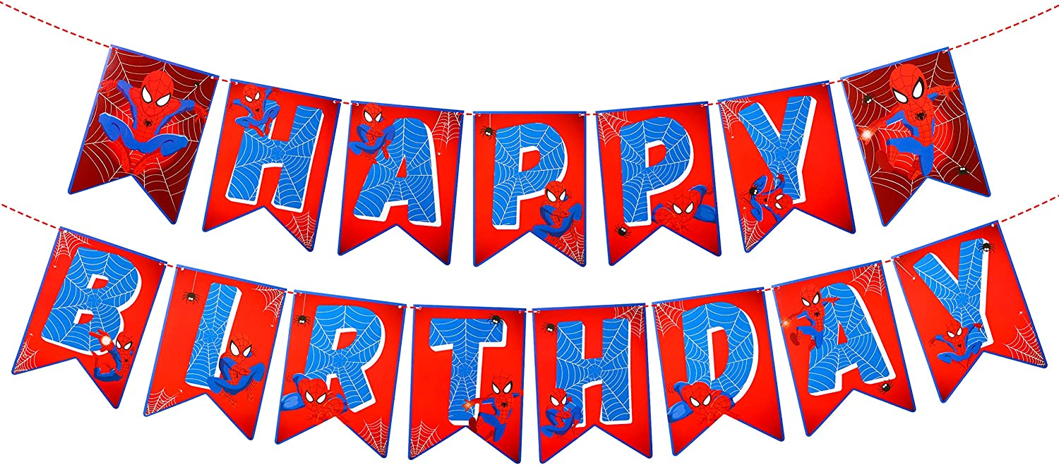 PANTIDE Spider Superhero Happy Birthday Banner Bunting, Reusable Swallowtail Flag High Chair Banner Hanging Decor for Nursery, Superhero Theme Birthday Party Decorations Supplies for Baby Kids Boys