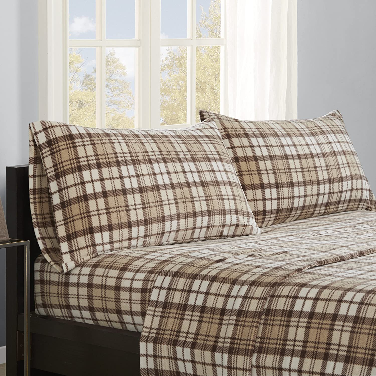 True North by Sleep Philosophy SHET20-540 Cozy Brushed Microfleece Ultra Soft Cold Weather Sheet Set Bedding, Queen, Tan Plaid