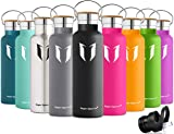 Super Sparrow Stainless Steel Vacuum Insulated Water Bottle - Double Wall Design - Standard Mouth - 500ml & 750ml & 1000ml - Non-Toxic BPA Free - Ideal as Sports Bottle - 2 Lids