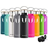 Super Sparrow Stainless Steel Vacuum Insulated Water Bottle, Double Wall Design,Standard Mouth - 500ml & 750ml & 1000ml - Eco Friendly & BPA Free - For Running, Gym, Yoga,Cycling, Outdoors and Camping, Car - Ideal as Sports Water Bottle - with 2 Exchangeable Caps + Bottle Pouch