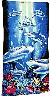 Toalla Ilkadim, de playa, 70 x 140 cm, de manos, para niños y adultos, de 100 % algodón, 100 % algodón, Blau Weiß…