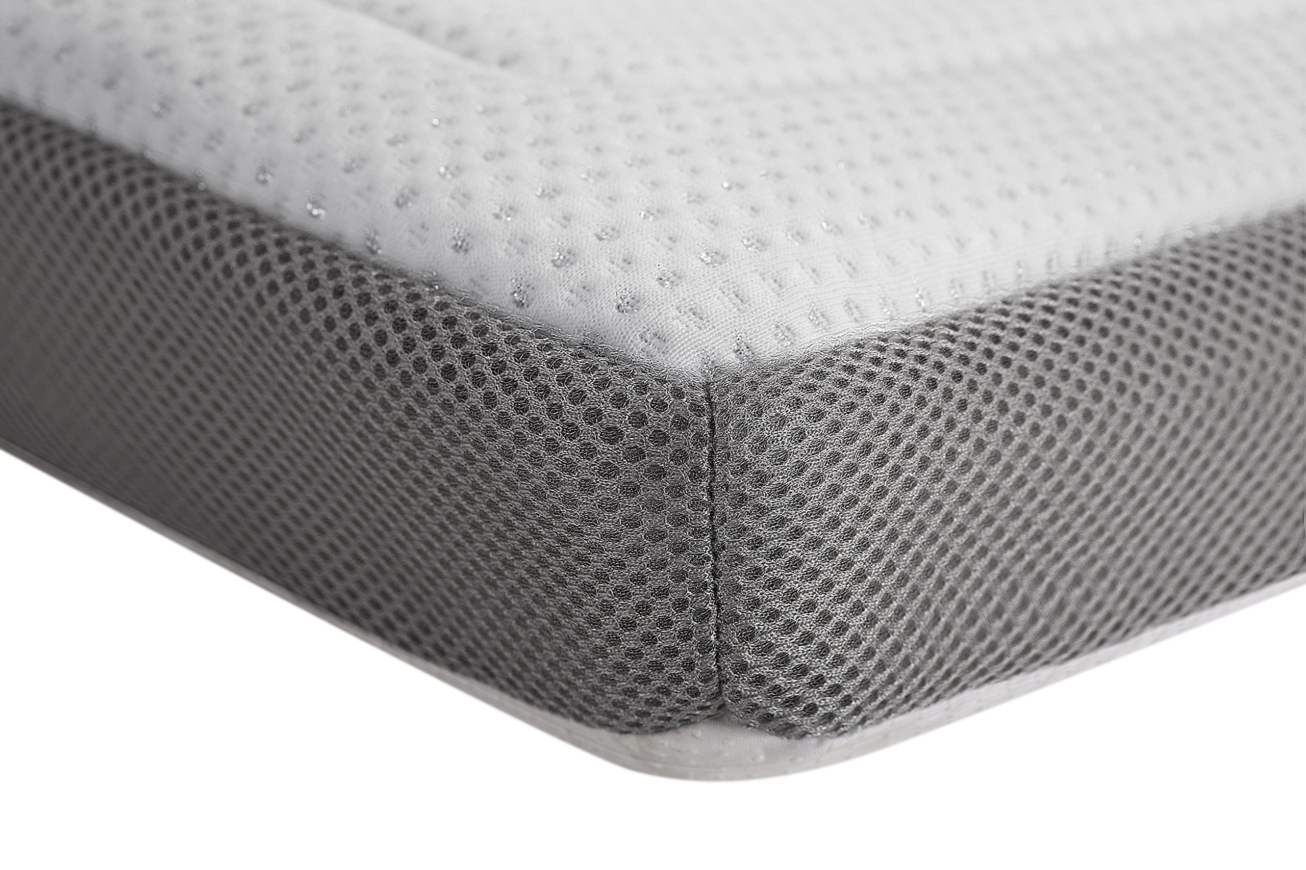 ALLRANGE 3-Inch Luxury Lurex Quilted Memory Foam Mattress Topper, Removable Quilted Cover, Mesh Gusset Sides, Hypoallergenic, Rolled Package, King Size