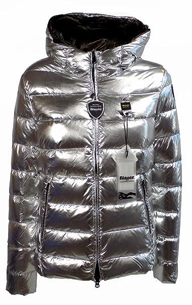 piumino grigio argento con cappuccio