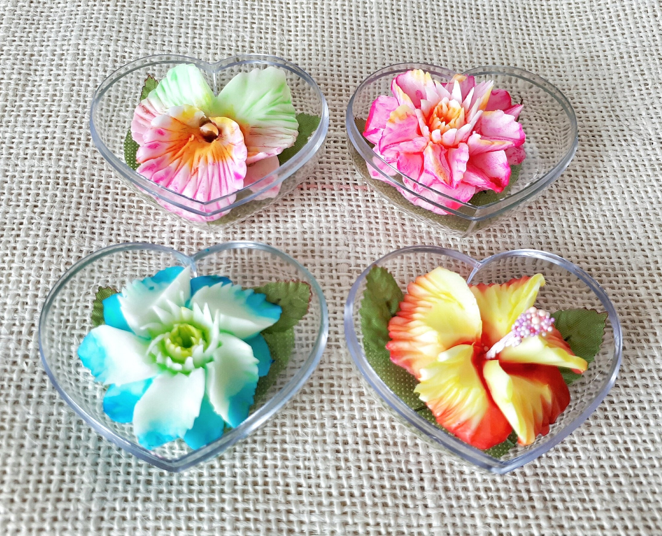 Bright & Colorful Flower Set of 4 Hand Carved Decorative Soaps with Jasmine Aroma Essential Oil, Handmade Soap Carving by Thai Artisan