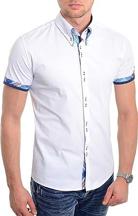 Camisa de Manga Corta Blanca para Hombre Diseño Italiano Ajustado Patrón de Cheque Azul Algodón Suave: Amazon.es: Ropa y accesorios