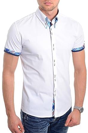 Weißes Kurzes Herrenhemd Italienisches Design Slim Fit Blaues Karomuster  Weiche Baumwolle f5214bbfff