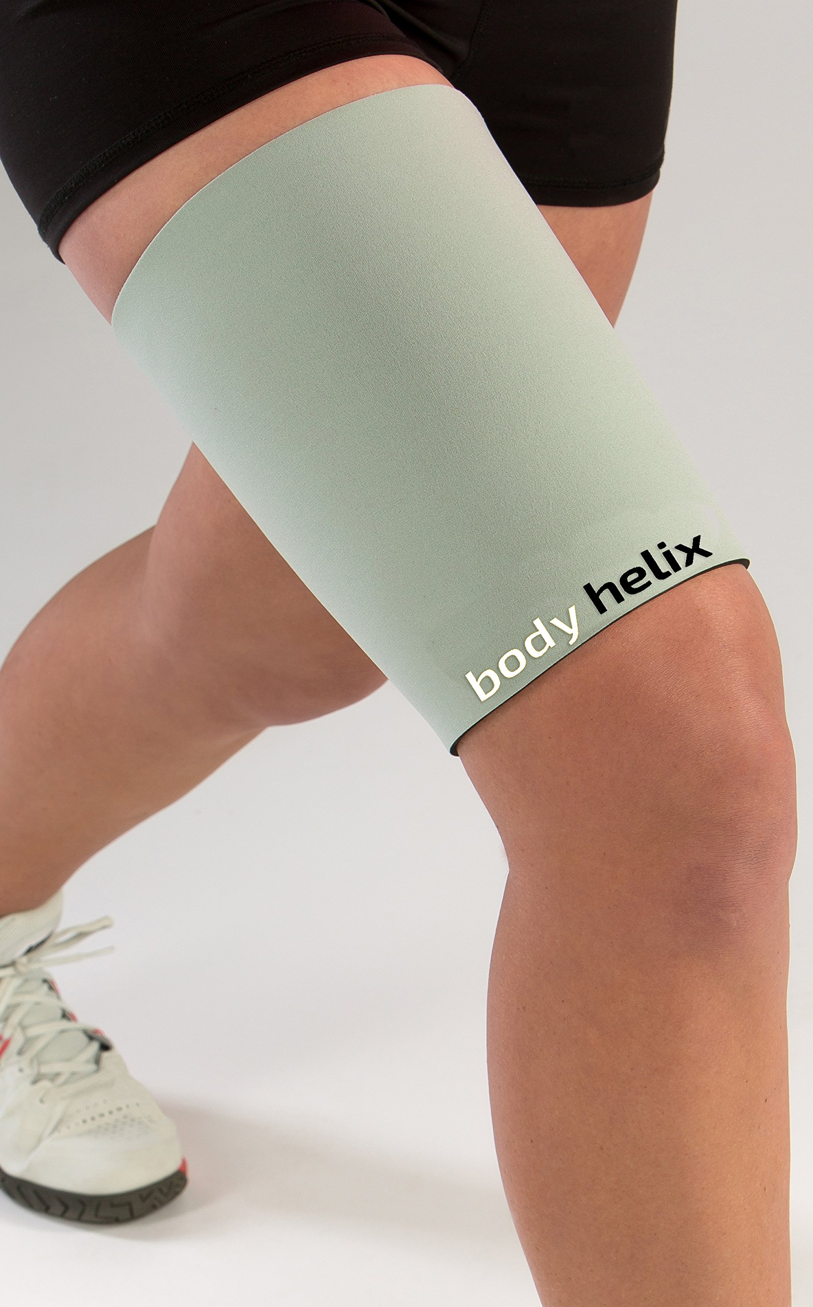 body helix Thigh Compression Sleeve - Full Thigh Helix Support Sleeves Wraps (Silver, Medium) by body helix