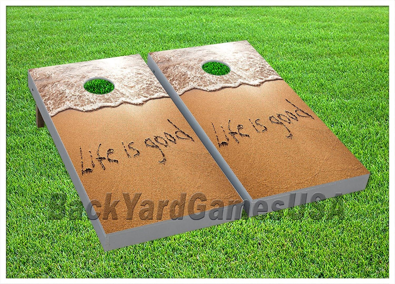 Life Is Good Cornhole Beanbag Toss Game Wバッグゲームボードビーチオーシャンセット709   B074SZB86P