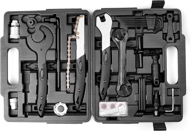ara trabajos de montaje y reparaciones de bicicleta 26 piezas Provelo Malet/ín de herramientas para bicicleta en negro