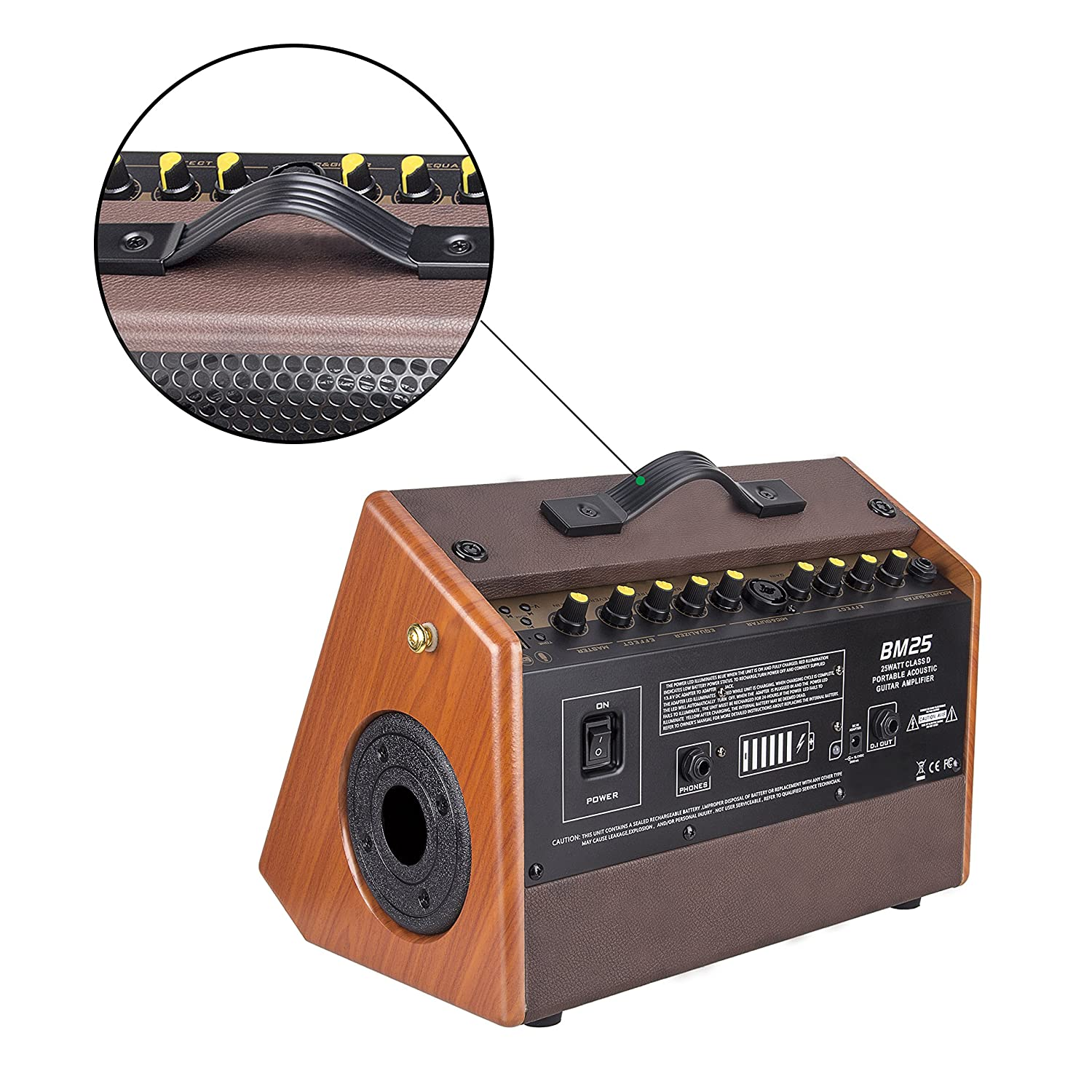 Mugig Guitar Amplifier Rechargeable Speaker Works With Or Music Home Stereo Powered Subwoofer Acoustic And Electric Voice Karaoke 25w Musical Instruments