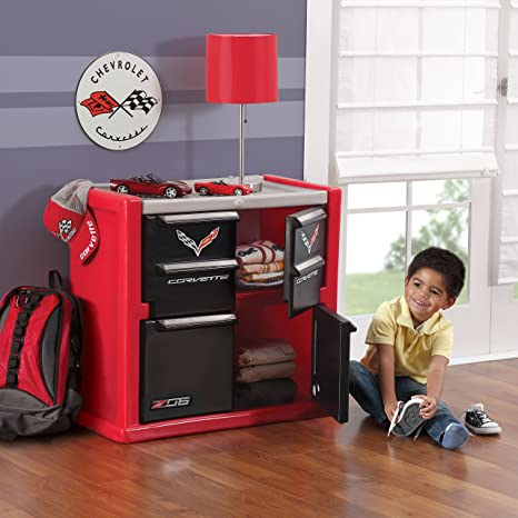 Amazon Com Step2 Corvette Dresser For Kids Durable 4 Drawer Cabinet Organizer Red Black Silver Toys Games
