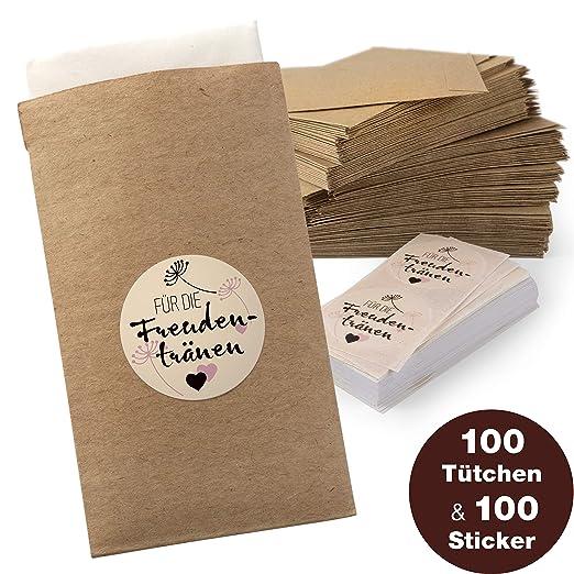 WeddingTree 100 Bolsitas Planas Sobres Planos Bolsa con Sticker Incluido - Bolsa Plana de Papel Kraft - Bodas DIY Regalo de Invitados