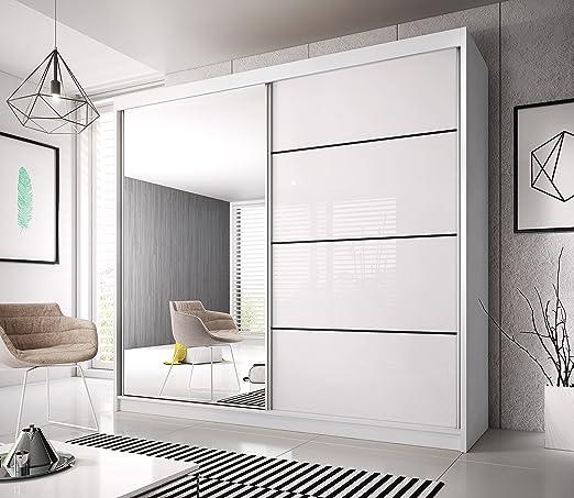 2 armarios de puerta corredera MU 35. Interior perfecto. Espejo y puertas blancas + tiras negras, 203: Amazon.es: Hogar