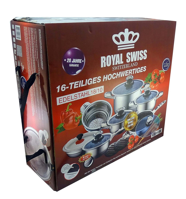 ROYAL SWISS 16 teliiges - Juego de cacerolas, cazuelas | - Juego de cazuelas (| Inducción | con tapa de cristal, acero inoxidable 18/10: Amazon.es: Hogar