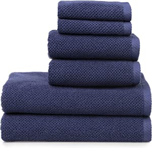 Welhome Franklin Premium 100% Cotton 6 Piece Towel Set   Deep Navy   Popcorn Textured   Highly Absorbent   Durable   Low Lint   Hotel & Spa Bathroom Towels   600 GSM   2 Bath 2 Hand 2 Wash Towels