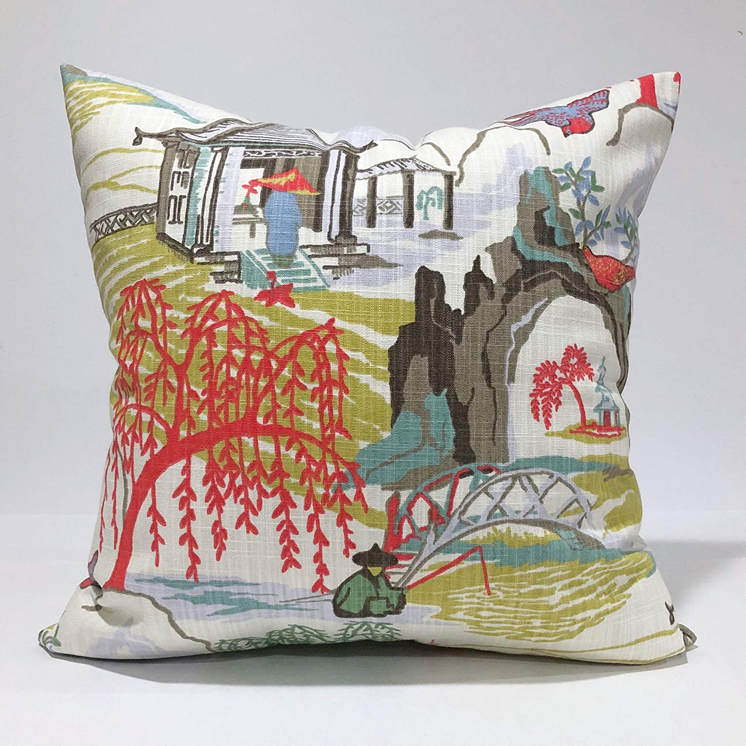 Flowershave357 Robert Allen Home Neo Toile Coral Throw Pillow Cover Aqua Citrine Taupe Brown Lavender Coral Red Green and White Pillow case