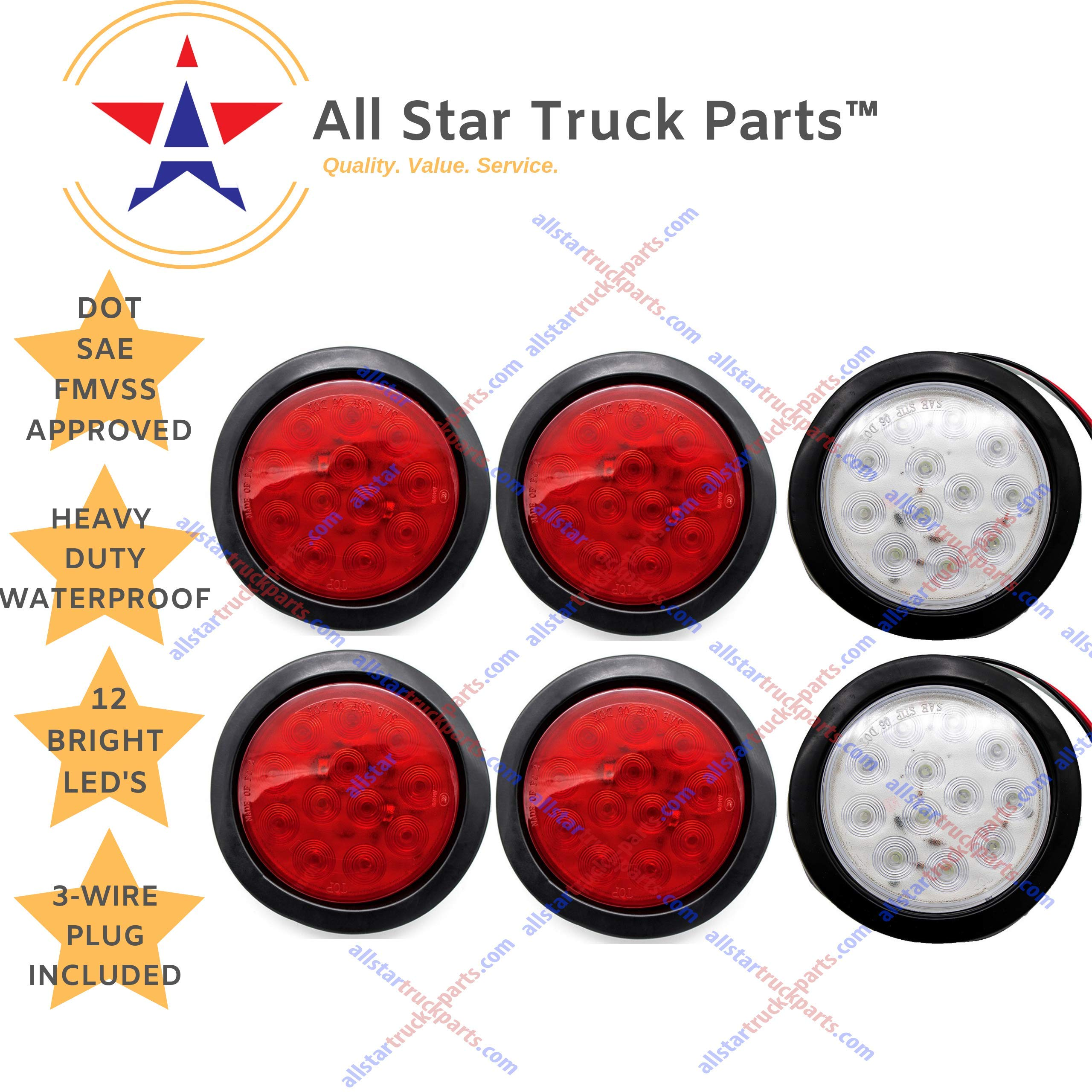 [ALL STAR TRUCK PARTS] 4'' Inch White and Red 12 LED Round Stop/Turn/Tail/Reverse/Backup Trailer Light Kit with 3 wire Pigtail Plug & Grommet (Qty 2 Red + Qty 2 White) (Mix, 4 Red + 2 White) by All Star Truck Parts