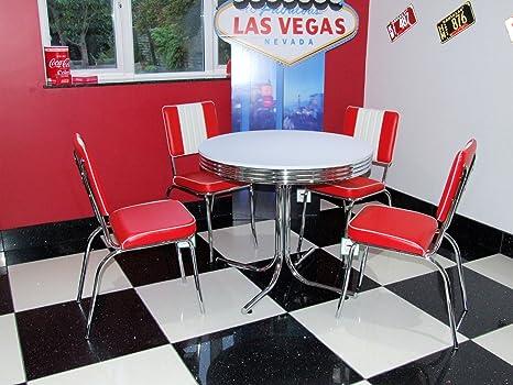 Just-Americana.com - Set composto da tavolo con 4 sedie rosse in ...
