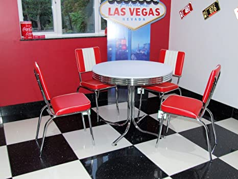 Sedie Rosse Da Cucina : Just americana set composto da tavolo con sedie rosse in