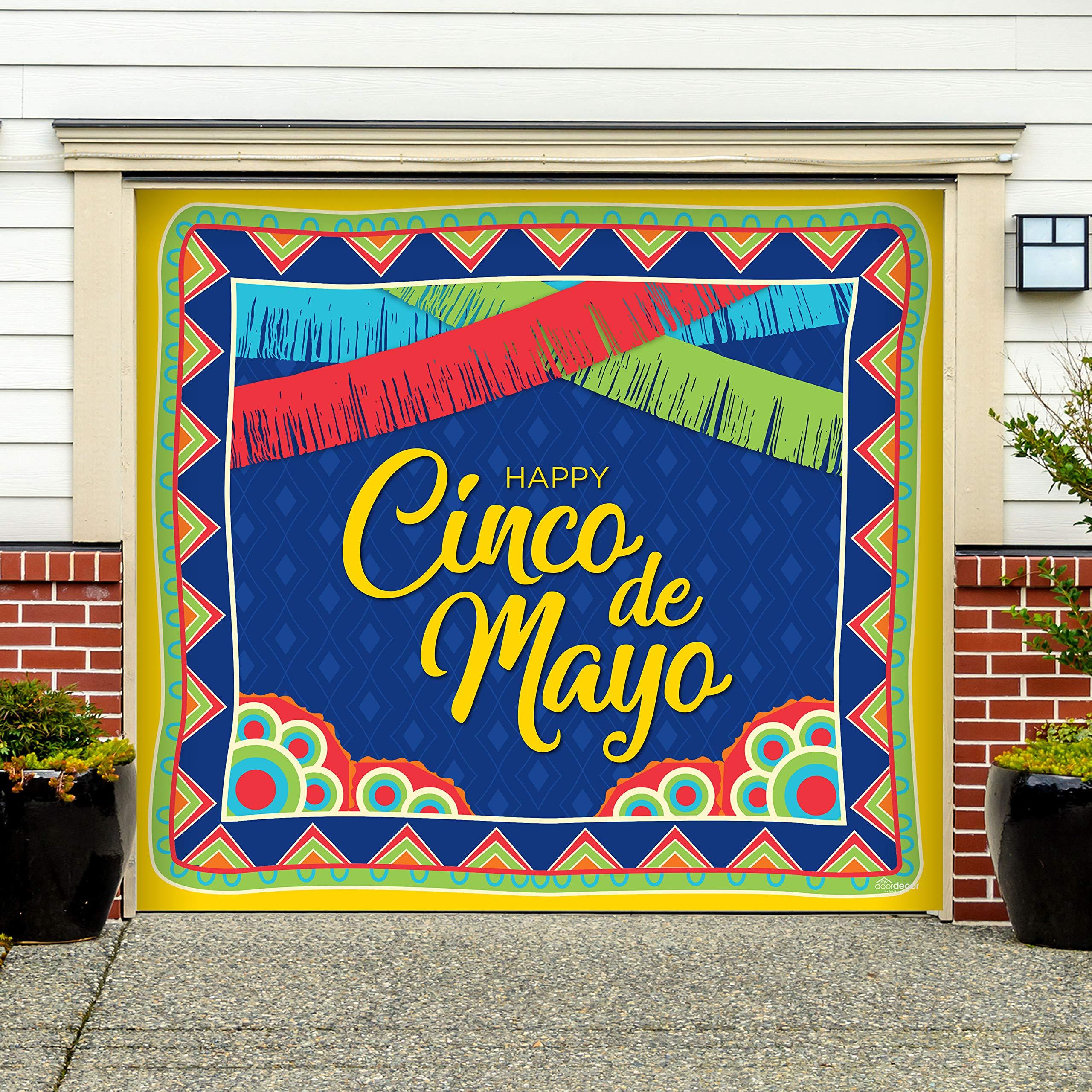 Victory Corps Happy Cinco de Mayo Pattern - Holiday Garage Door Banner Mural Sign Décor 7'x 8' Car Garage - The Original Holiday Garage Door Banner Decor