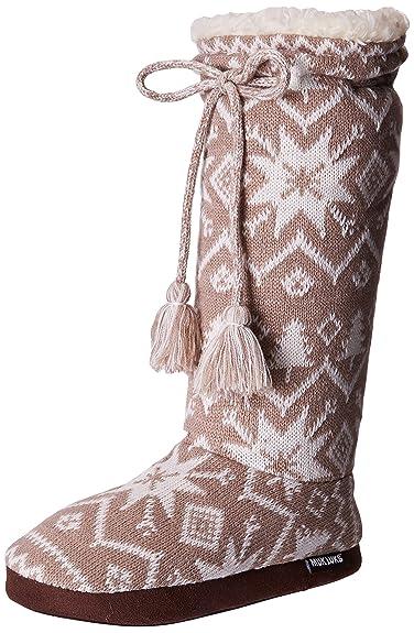 Amazon.com | Muk Luks Women's Tall Fleece-Lined Slipper Boot ...