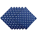 """DII Oversized Cotton Napkin for Independence Day, July 4th Party, Summer BBQ and Outdoor Picnics - 20x20"""", Navy Blue with White Patriot Stars, Set of 6"""
