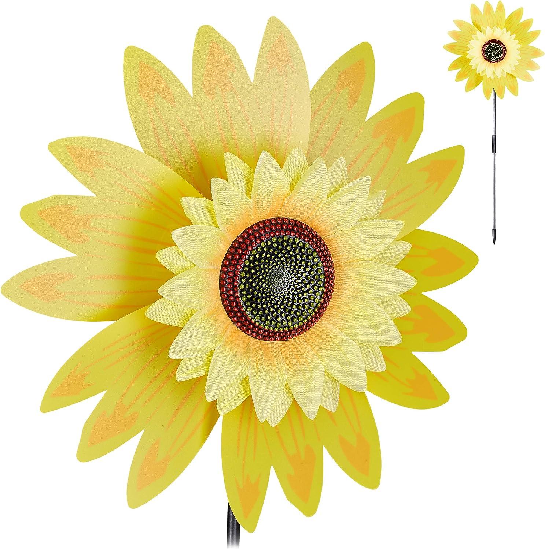Relaxdays Windrad Blume Deko Sonnenblume für Kinder für Balkon Terrasse und Garten Gartenstecker 70 cm hoch gelb