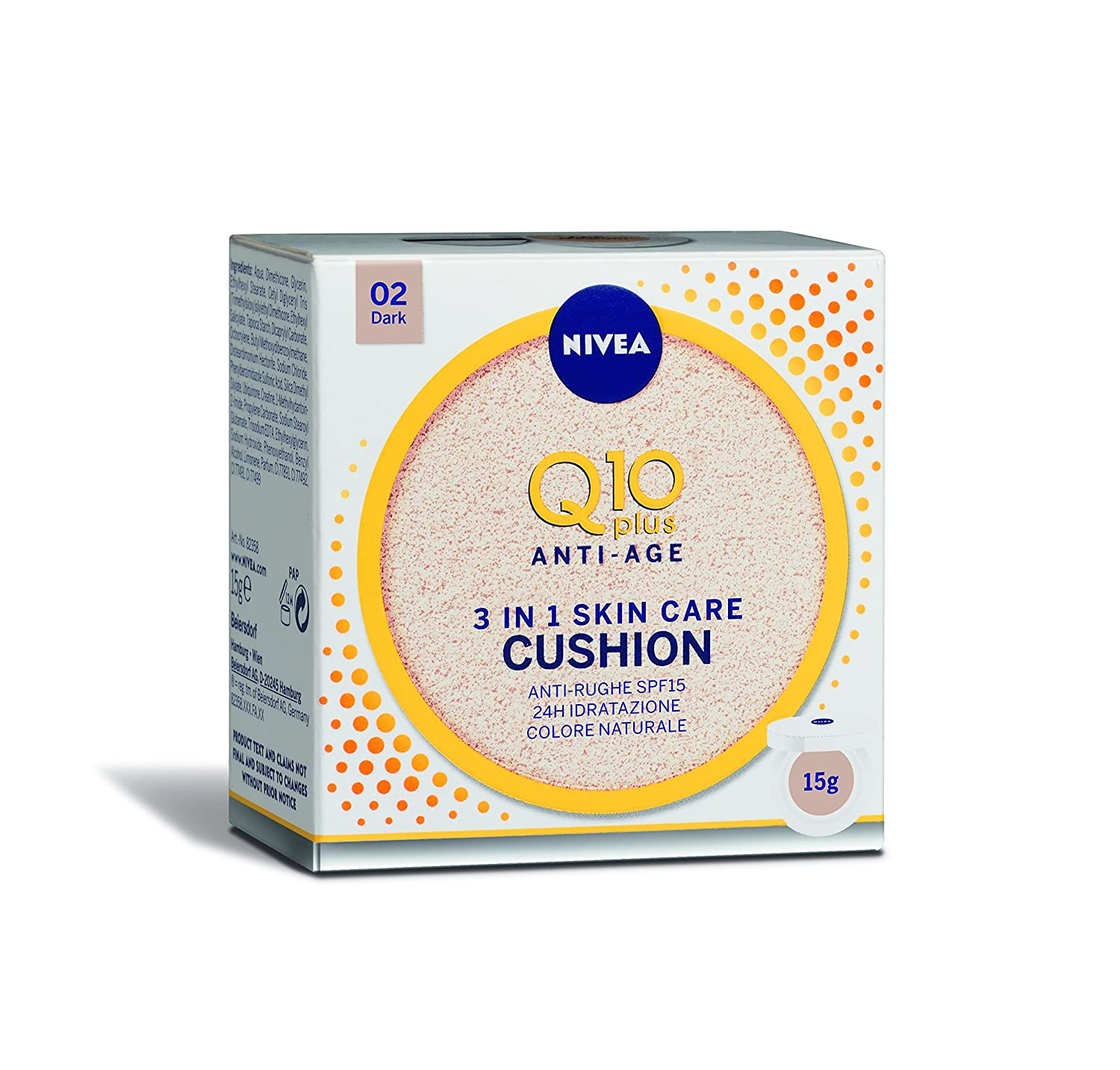 Nivea Q10 Plus Anti-Age 3 in 1 Skin Care Cushion Scuro, Colore Naturale 02 Dark