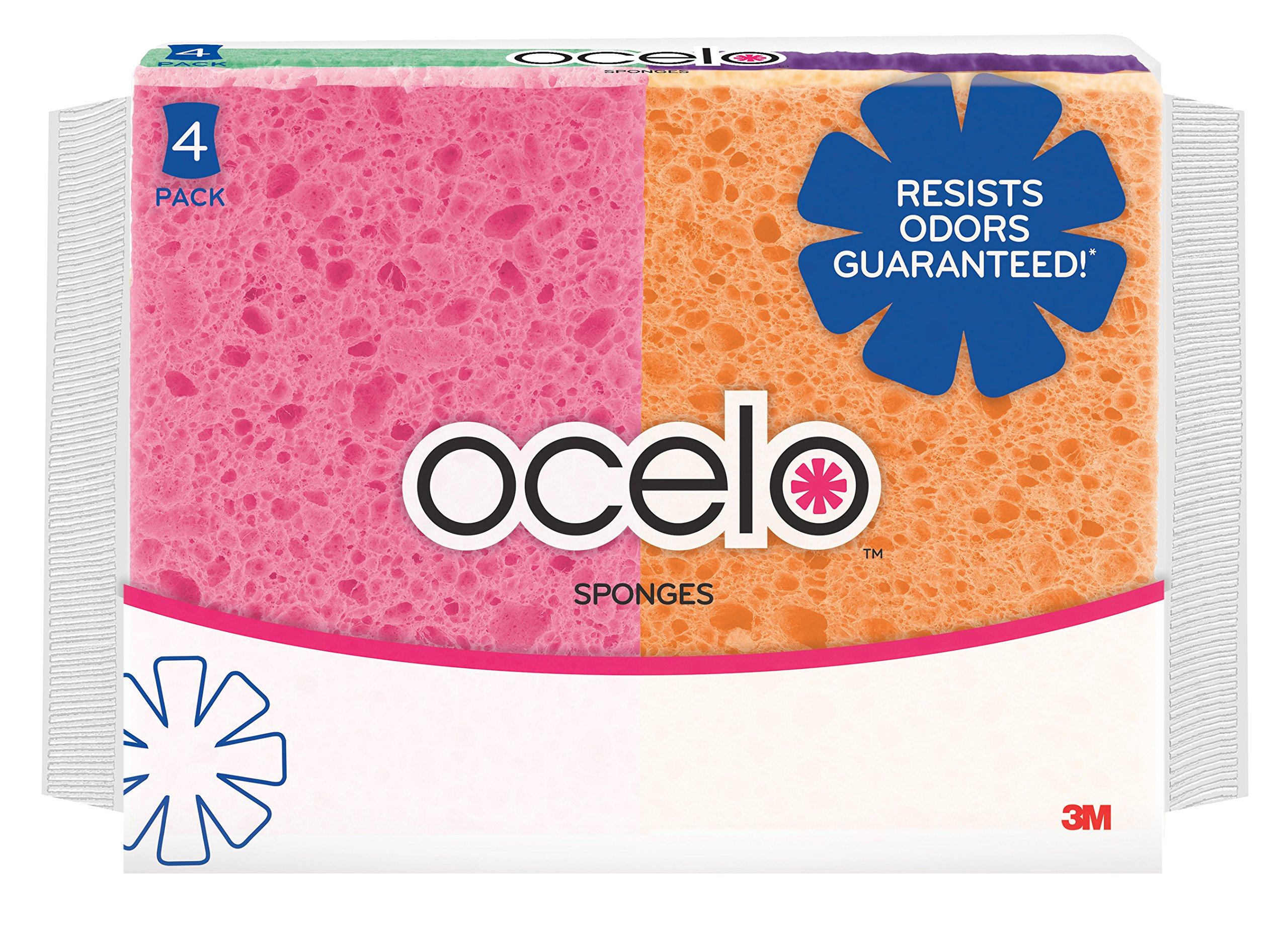ocelo Cellulose Sponge, Colors may vary, 4-Sponges/Pk, 10-Packs, (40 Sponges Total)