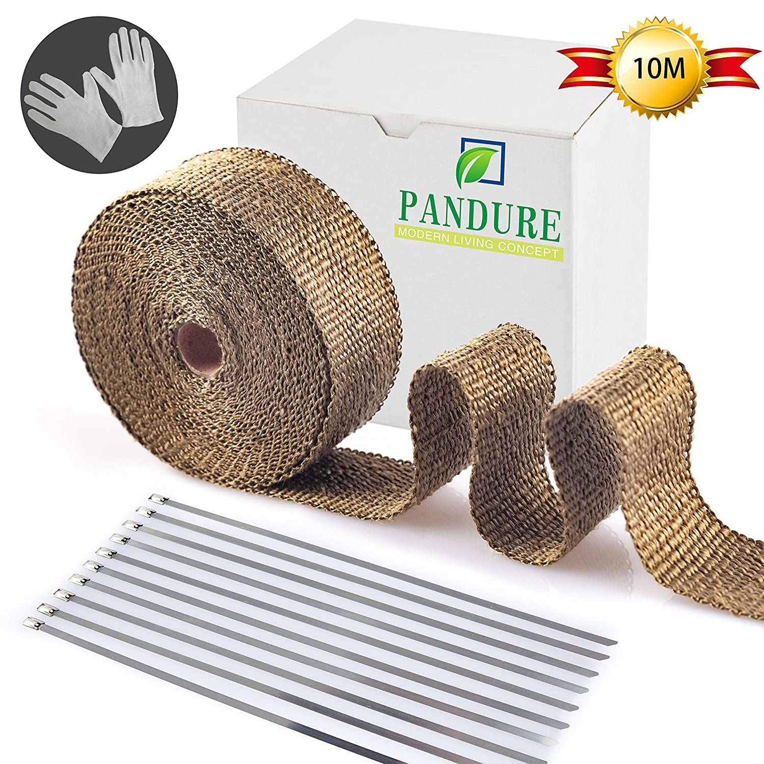Titanium Lava Fiber,Exhaust Heat Wrap,Exhaust Header Wrap,Kit for Motorcycle with Stainless Ties 10M, Black