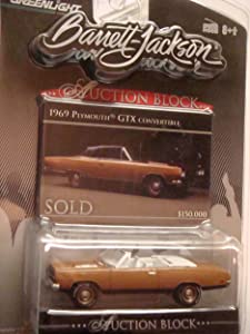 Barrett Jackson Auction Block Detailed Diecast 1969 Plymouth GTX Convertible Haze Bronze Open Hood White Letter Rubber Tread Replica 1/64 Scale