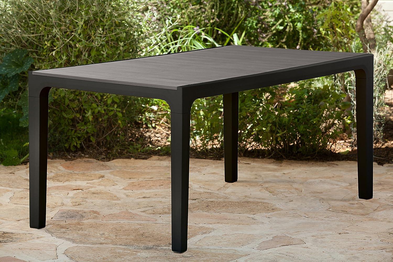 Keter 17201231 Kunststoff Tisch Harmony, Esstische in Holzoptik, Keter Gartentisch, grau, 160,5 x 94,5 cm