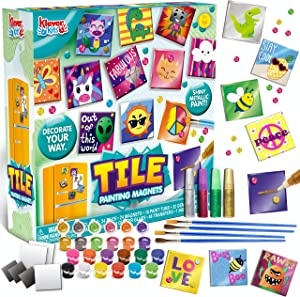 24 Magnetic Mini Tiles Art Kit Creativity DIY Paint Arts & Crafts DIY Supplies Kit Make Your Own For Kids, Fridge, Party Favors, Craft Project Gifts for Boys & Girls, Family Activity, Birthday Present