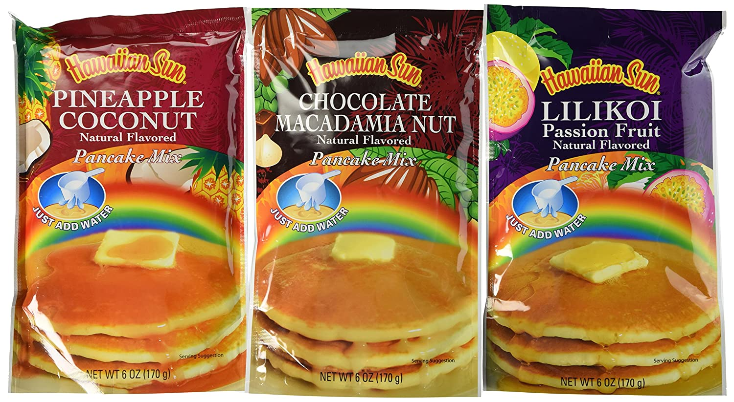 Hawaiian Sun Pancake Mix Assortment 6-ounce (Pack of 3)