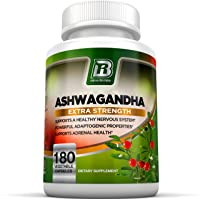 BRI Nutrition Ashwagandha - Premium Stress & Anxiety Relief w/Energy Boost & Calm, Vegetable Cellulose Capsules (180 Count)