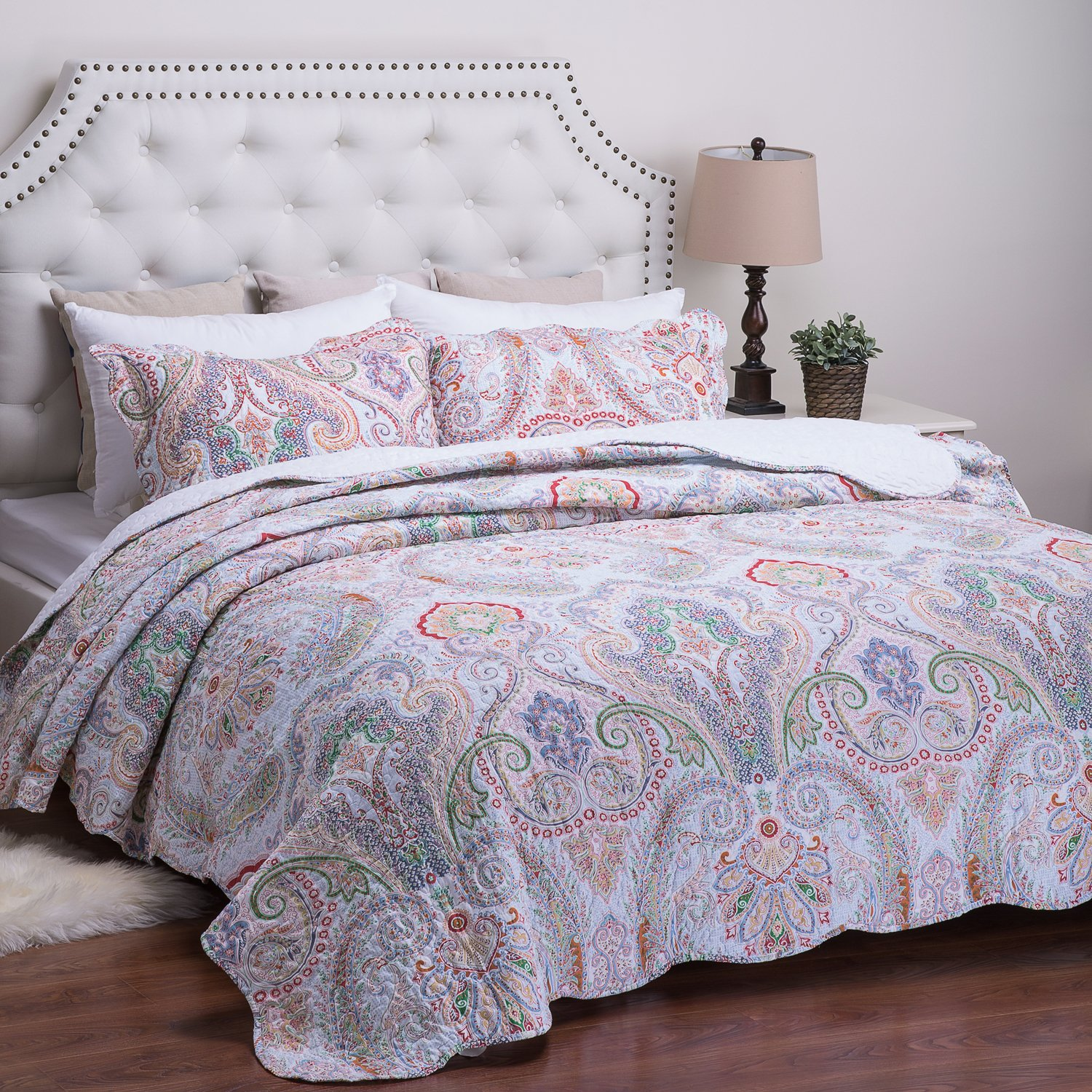 Printed Quilt Coverlet Set Full/Queen Crimson Blue Paisley Pattern Lightweight