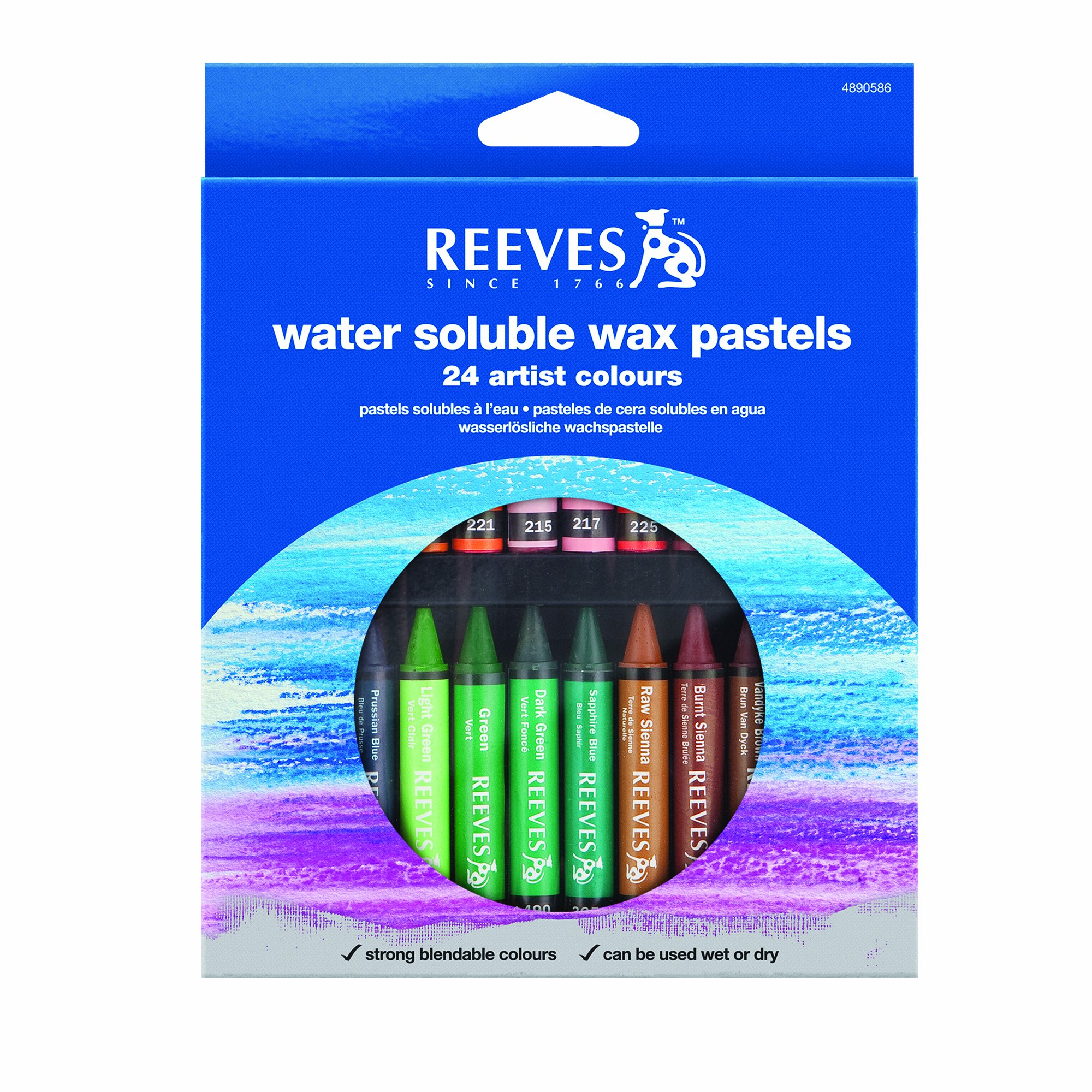 Reeves 24-Piece Water Soluble Wax Pastels Stick Set