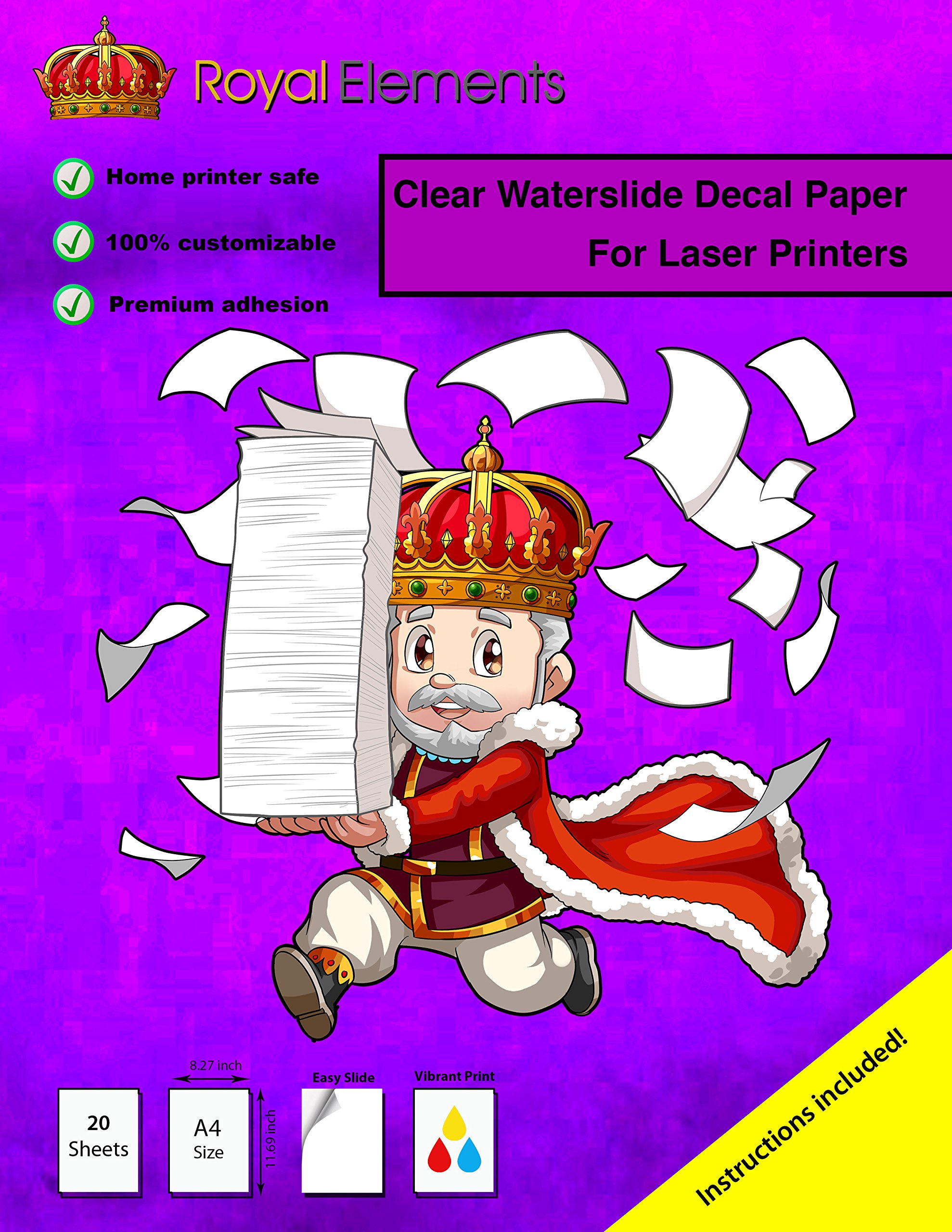 Royal Elements Waterslide Decal Paper - Clear for Laser Printers - 20 Sheets by Royal Elements