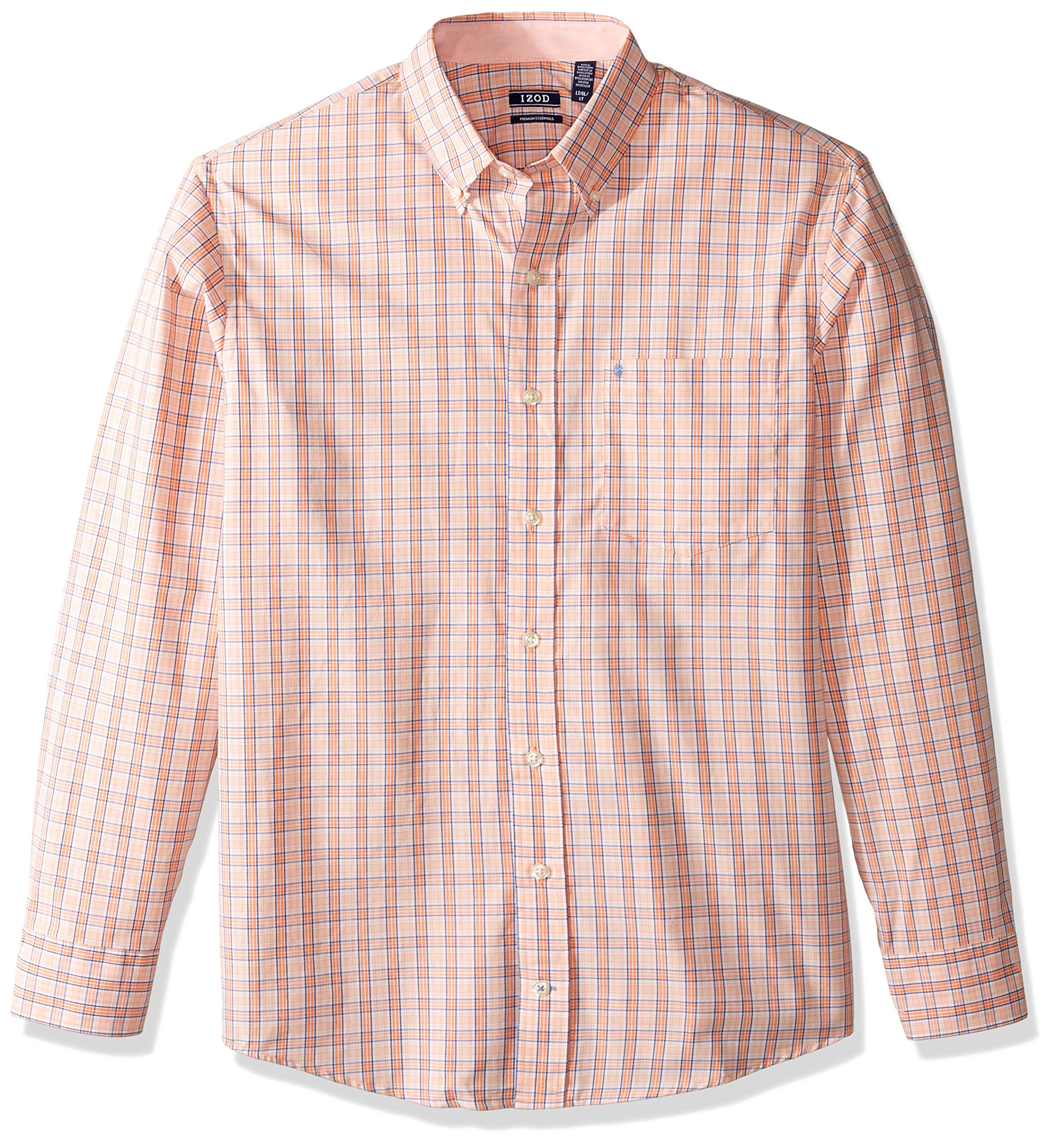 IZOD Men's Big and Tall Button Down Long Sleeve Stretch Performance Plaid Shirt, Melon, 3X-Large