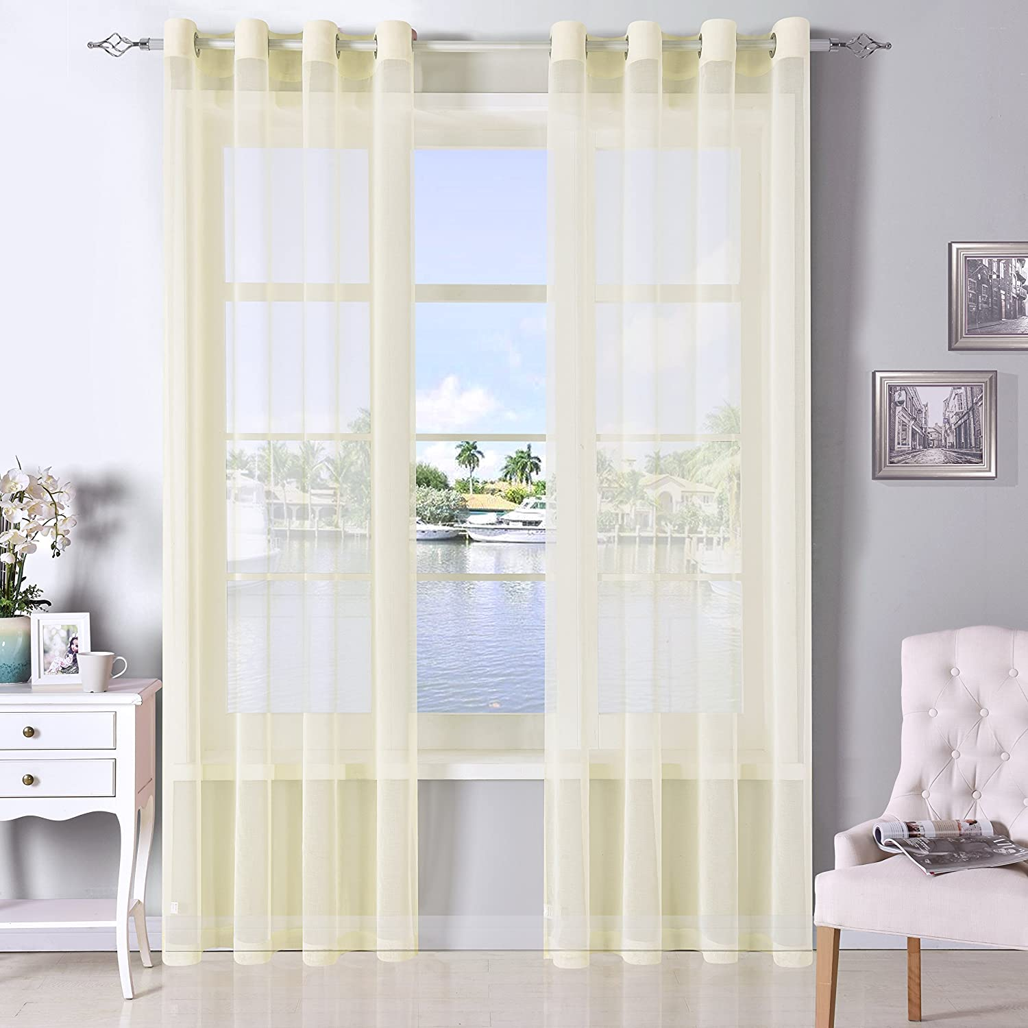 Amazoncom Dwcn Ivory Sheer Curtains Linen Look Semi Transparent Voile