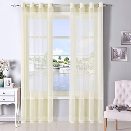 DWCN Ivory Sheer Curtains Linen Look Semi Transparent Voile Grommet Living Room Dining Drapes