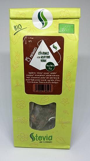 Cáñamo con Gelatina Verde BIO 15 Pirámides | Stevia del Condado