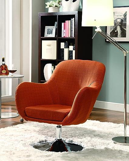 Coaster Contemporary Orange Retro Swivel Chair