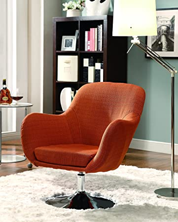 Superior Coaster Home Furnishings 902148 Contemporary Swivel Chair With Chrome Base,  Orange