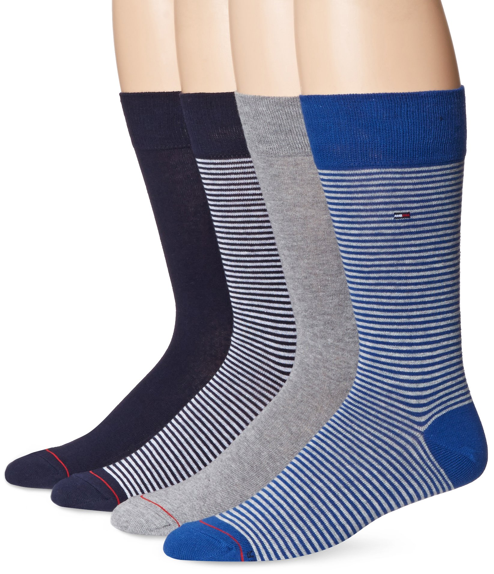 Tommy Hilfiger Men's 4 Pack Fine Bar Stripe Crew Sock,Black/Grey/Blue,Sock Size: 10-13/Shoe Size: 7-12