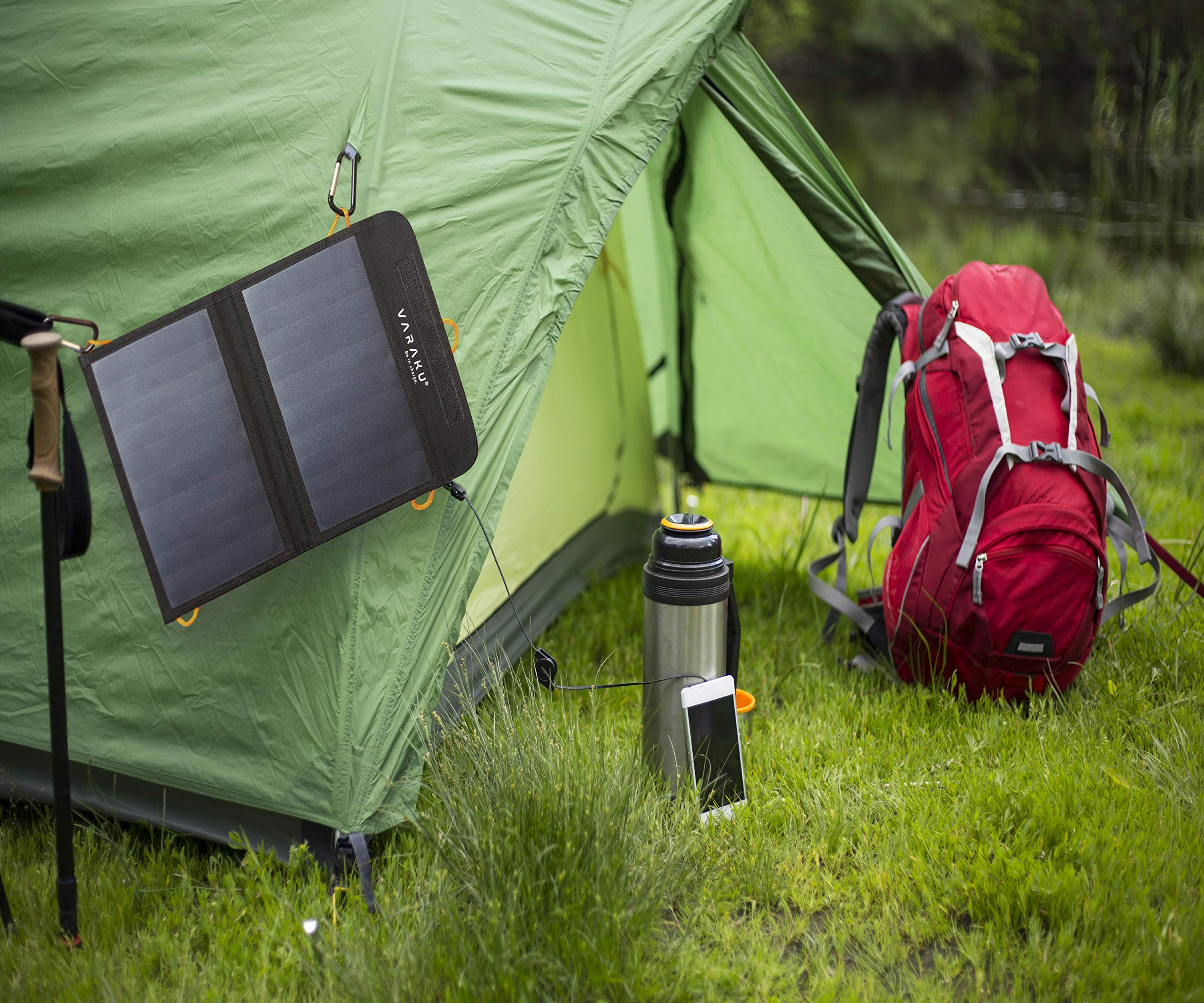 Portable Solar Charger 10W - Dual USB Solar Panel Foldable – Best Power for, iPhone, X, 8, 7, 6s, iPad, Cell Phone Android & Electronic Devices - Waterproof Sun Phone Charger for Camping & Hiking by VARAKU (Image #5)
